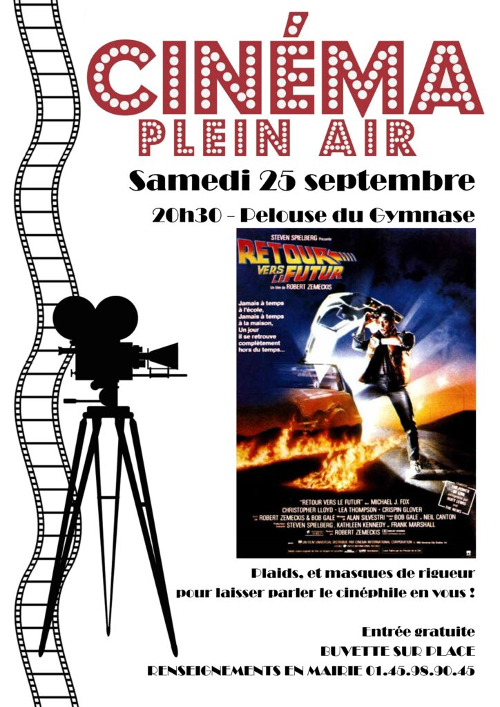 Cinéma en plein air, samedi 25 septembre à 20h30 pelouse du Gymnase. Plaids et masques de rigueur. Entrée gratuite. Buvette sur place.